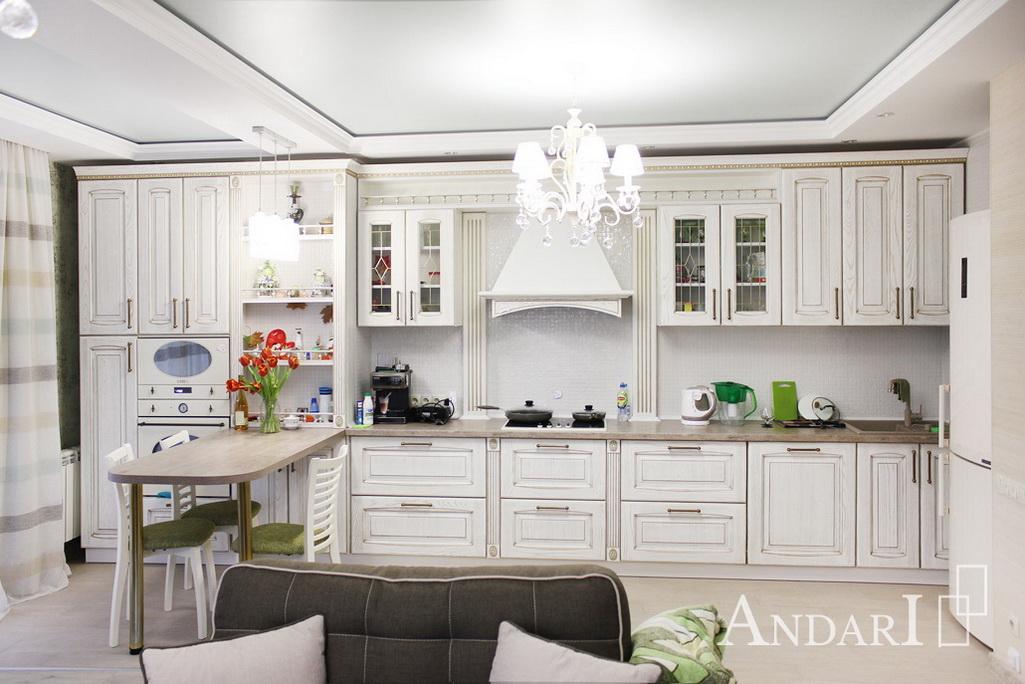Вид на рабочую зону кухни со стороны гостиной