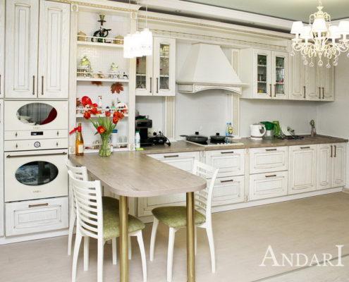 Прямая кухня массив ясеня - Андари