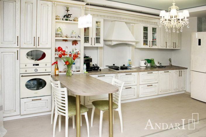 Прямая кухня массив ясеня Андари