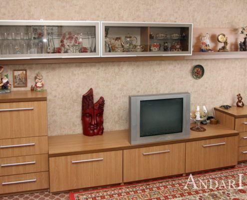 Андари: гостиная с витринами и подсветкой