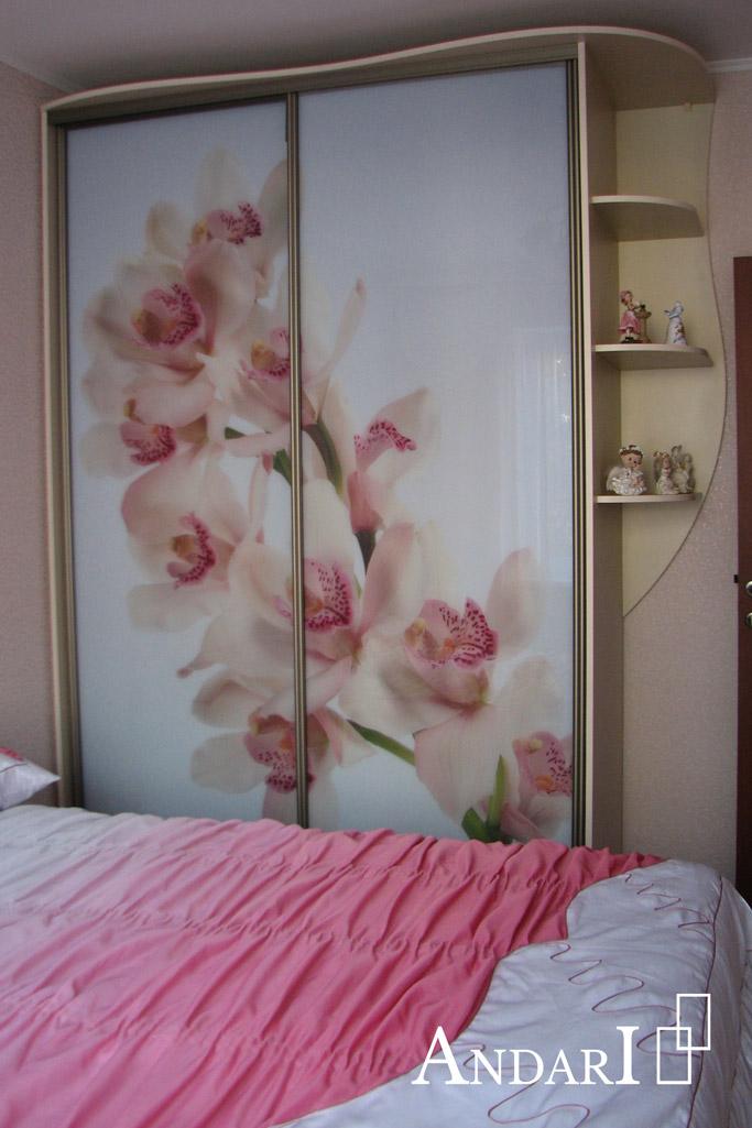 """Шкаф-купе с фотопечатью """"Орхидея"""" Андари"""