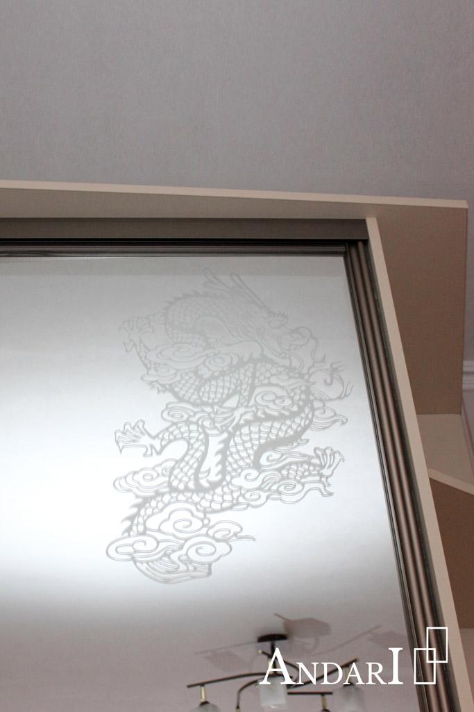 Пескоструйный рисунок на зеркале, шкаф-купе - Андари