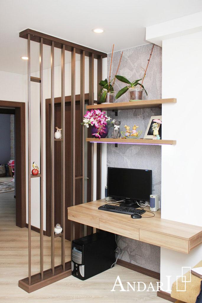 Подвесная мебель в гостиной: рабочее место