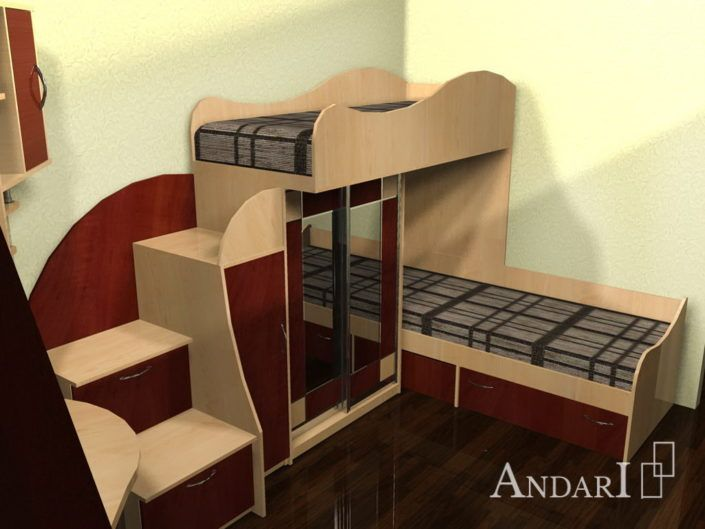 Детская комната с двухъярусной кроватью - Андари