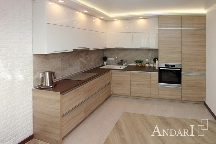 Угловая кухня из акрилового пластика Андари
