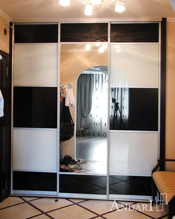 Шкаф-купе со вставками черного и белого стекла - Андари