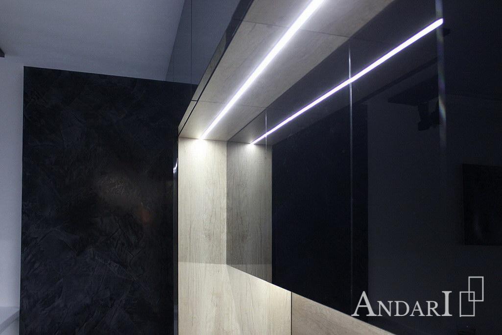 Врезная светодиодная подсветка над рабочей зоной кухни