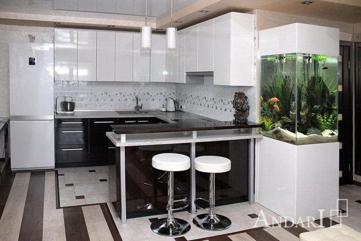 Угловая кухня с барной стойкой Андари