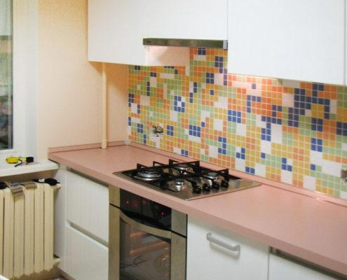 Прямая белая кухня из крашеного МДФ - Андари