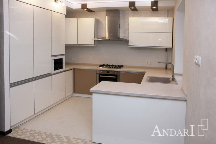 Угловая кухня о столешницей из искусственного камня - Андари