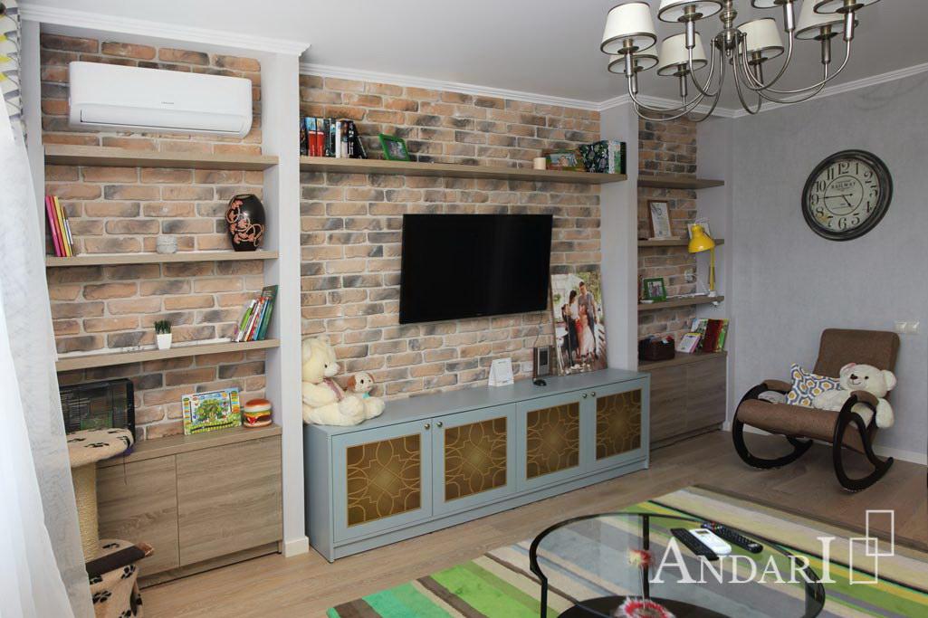 Открытые полки в гостиной в стиле лофт - Андари