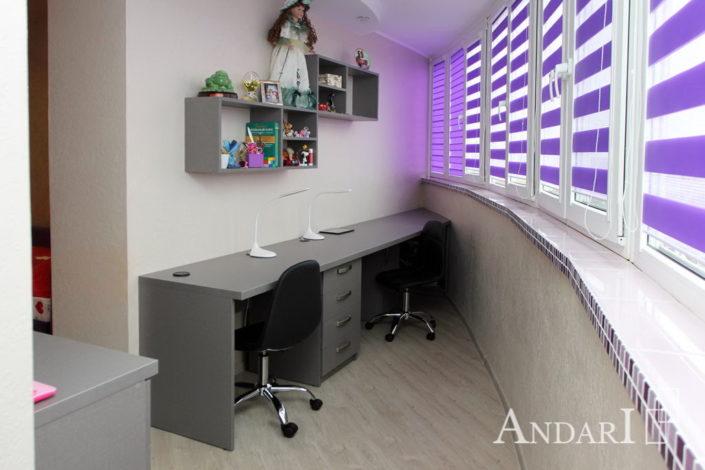 Детская комната с рабочей зоной на балконе - Андари