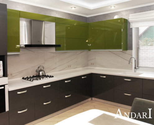 Угловая кухня со столешницей из искусственного камня - Андари