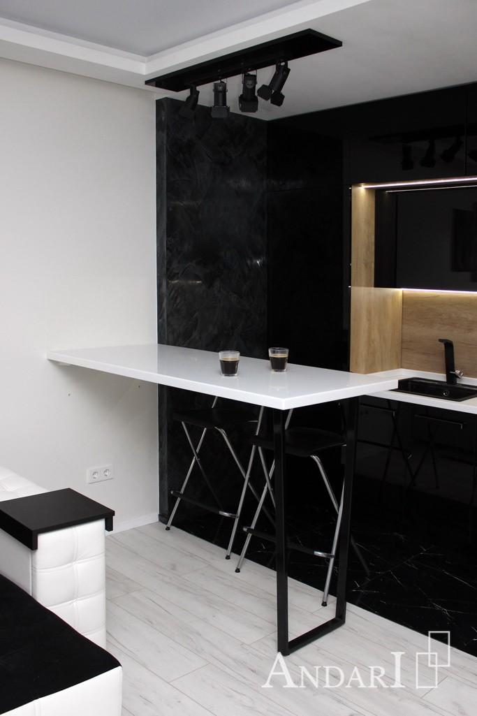 Барная стойка из искусственного камня в квартире-студии - Андари