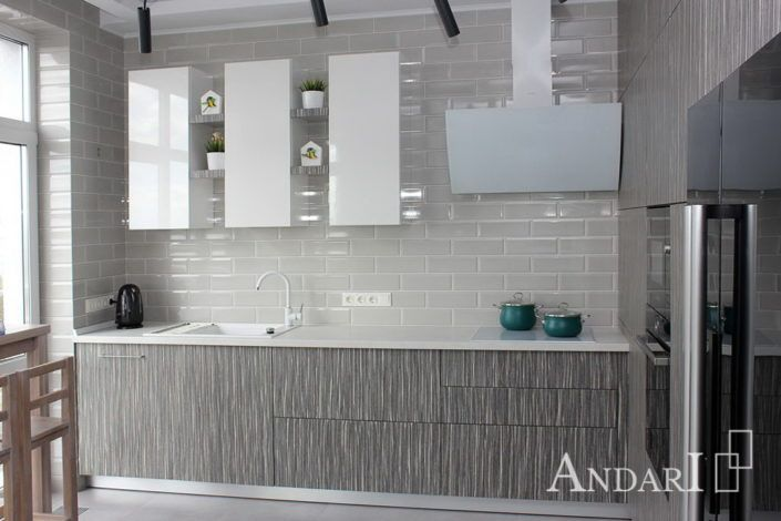 Угловая кухня из шпона в стиле минимализм - Андари