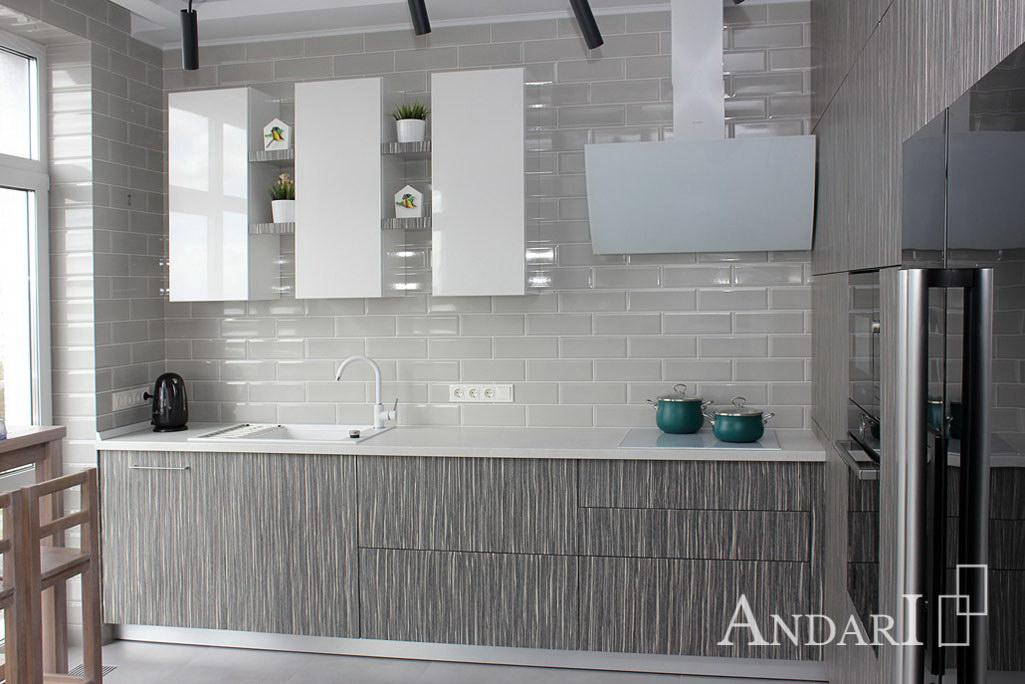 Угловая кухня из шпона в стиле минимализм