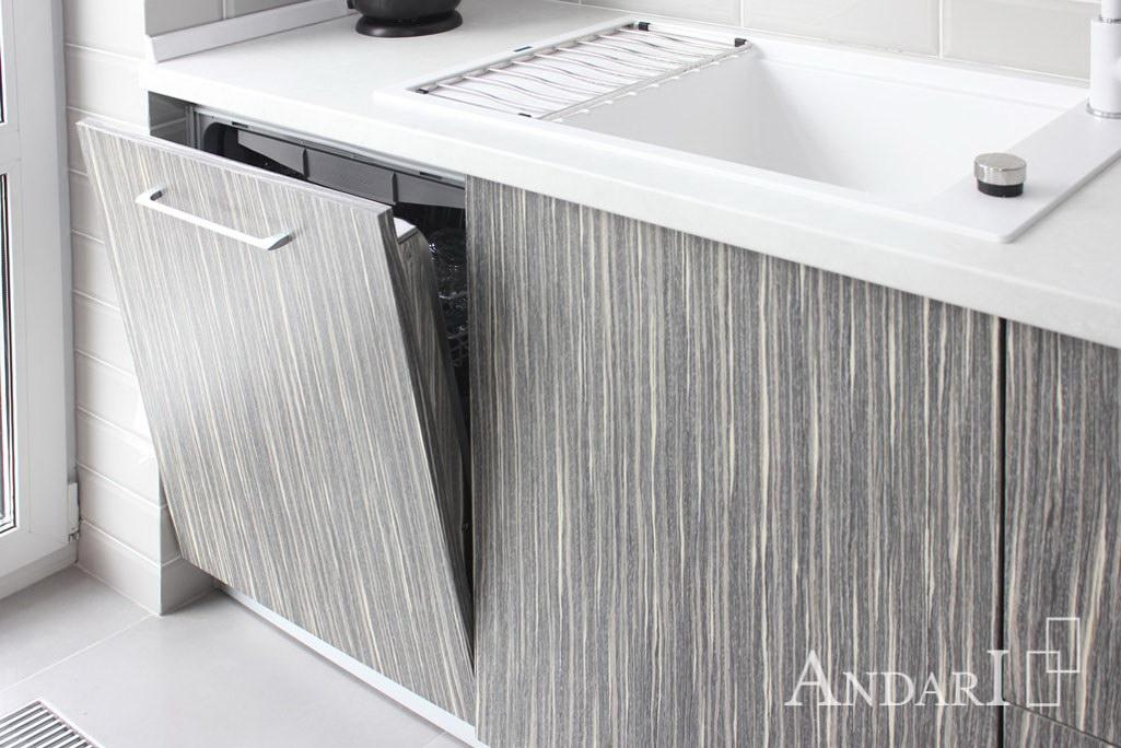 Встроенная посудомоечная машина на кухне из шпона - Андари