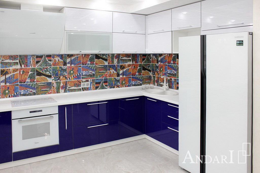 Синяя угловая кухня Андари
