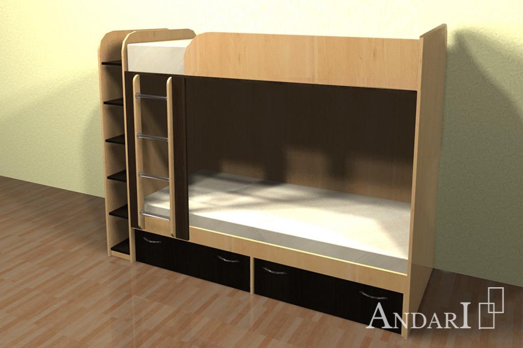 Двухъярусная кровать с ящиками и полкой - Андари