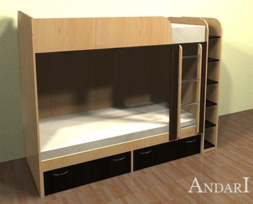 двухъярусная кровать с полками - Андари