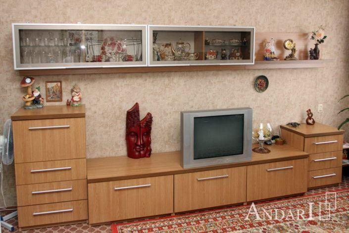 Гостиная с витринами, открытыми полками и подсветкой - Андари