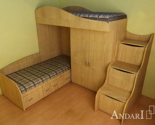 Двухъярусная кровать со шкафом и лестницей - Андари