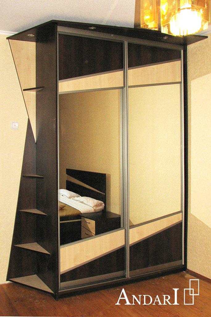 Двухдверный шкаф-купе со вставками и подсветкой- Андари