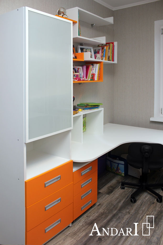 Шкаф для книг и компьютерный стол в детской - Андари