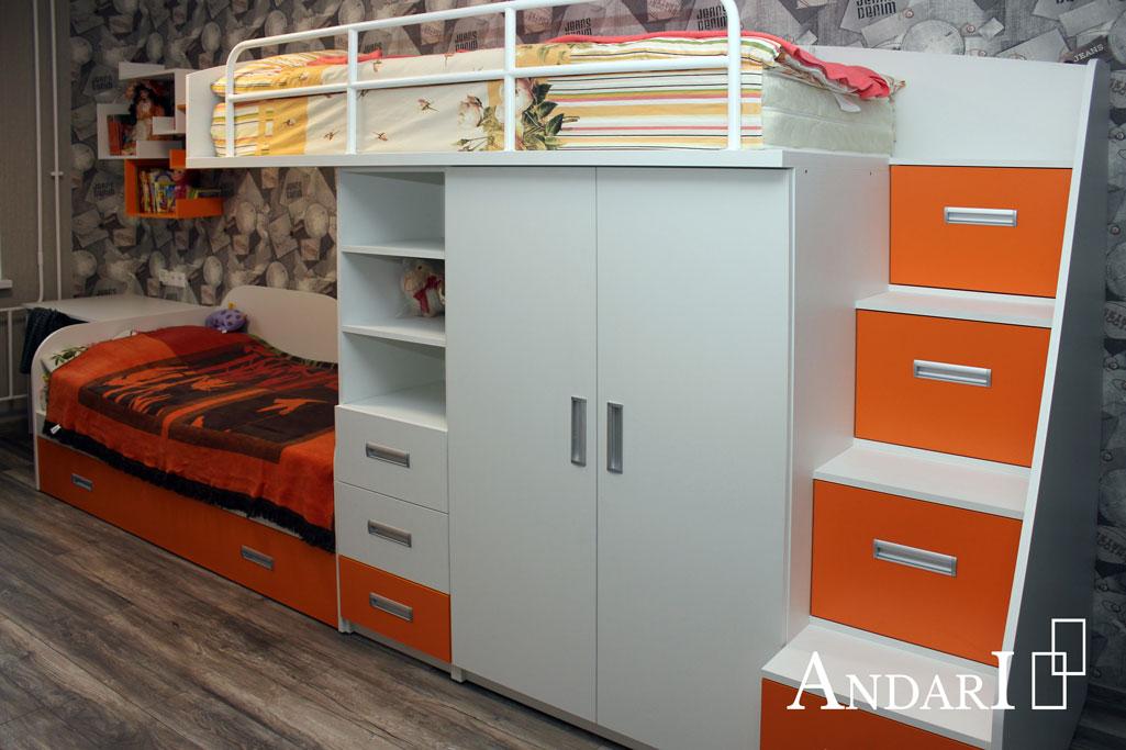 Оранжевая детская двухъярусная кровать - Андари
