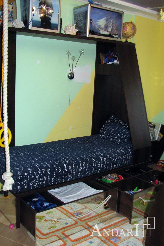 Выдвижные ящики под кроватью в детской - Андари