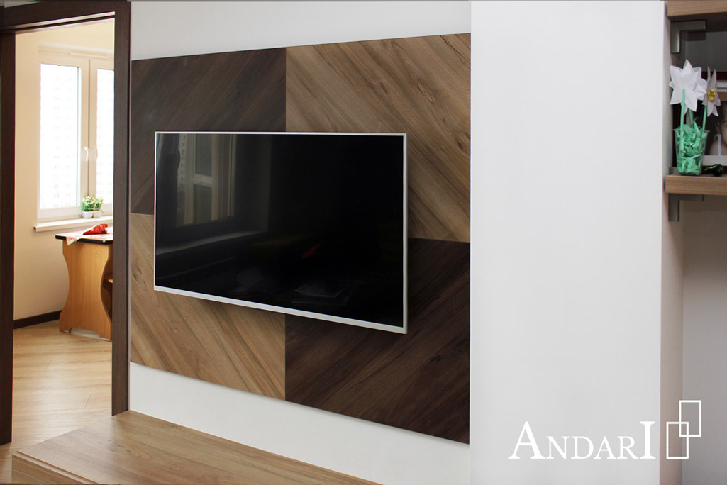 Панель для телевизора в гостиной Андари