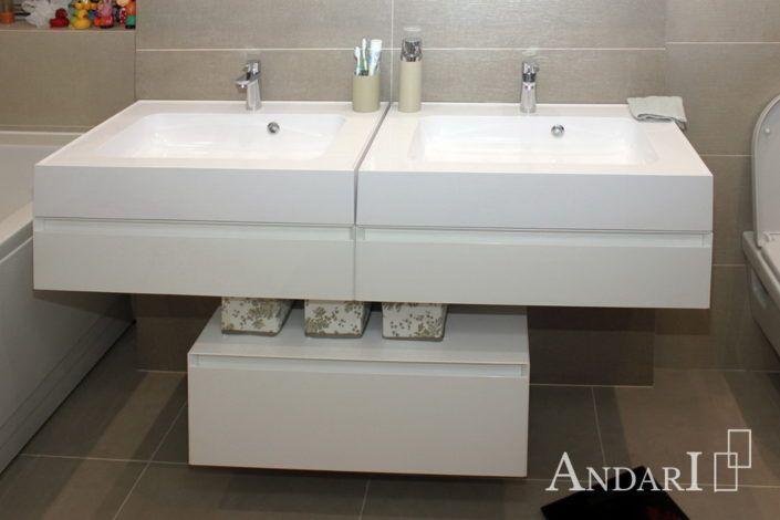 Двойная тумба в ванной Андари