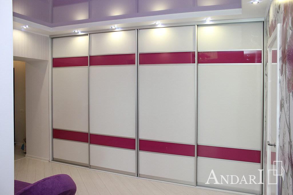 Белый шкаф-купе с розовыми вставками - Андари
