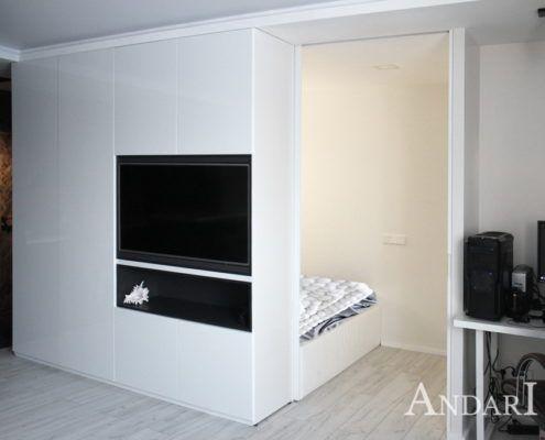 Белая спальня в квартире-студии - Андари
