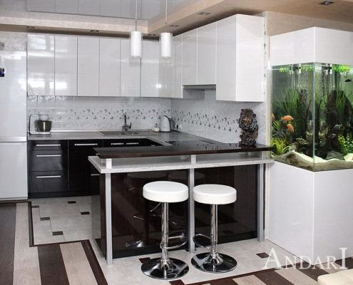 Угловая кухня с барной стойкой - Андари