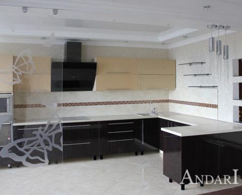 Угловая кухня с фасадами из акрила Андари