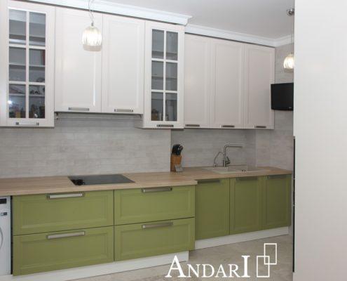 Прямая зеленая кухня из крашеного мдф - Андари