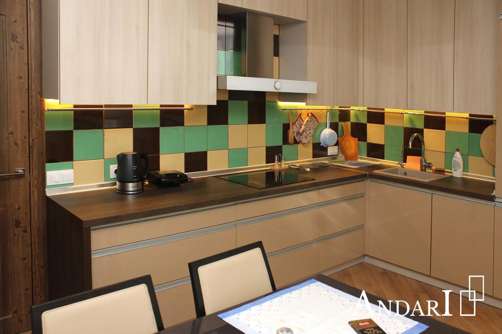 Угловая кухня с профильными ручками из алюминия - Андари