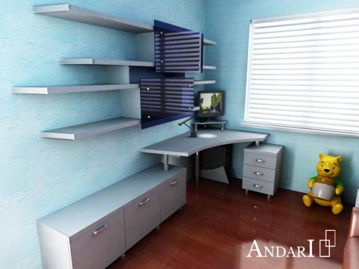 Проект детской комнаты: угловой стол с тумбами - Андари