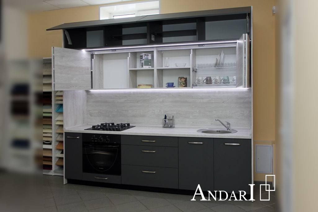 Прямая кухня со складными фасадами